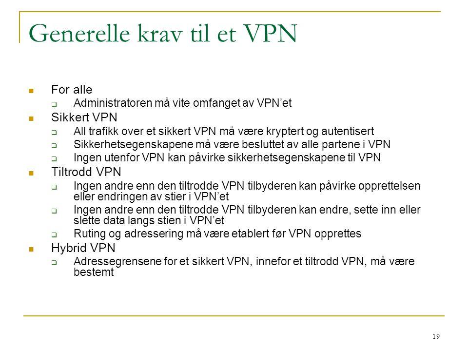 Generelle krav til et VPN