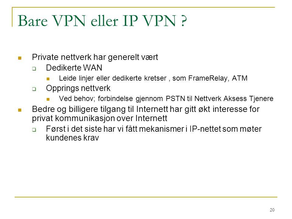 Bare VPN eller IP VPN Private nettverk har generelt vært