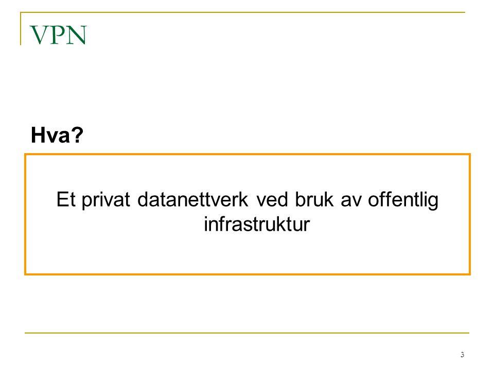 Et privat datanettverk ved bruk av offentlig infrastruktur