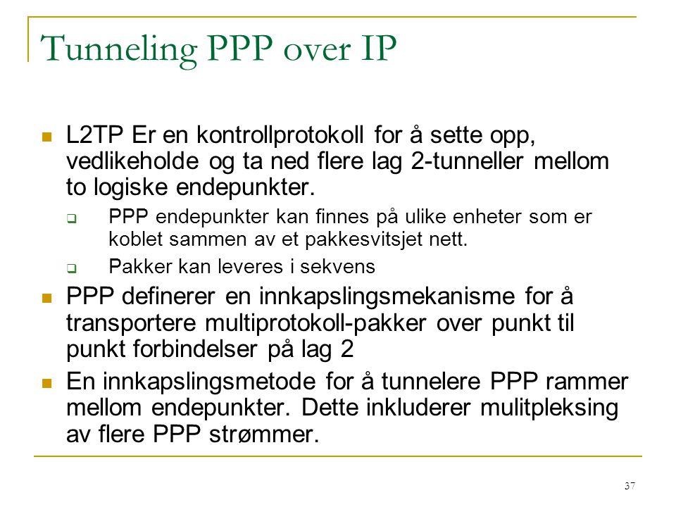 Tunneling PPP over IP L2TP Er en kontrollprotokoll for å sette opp, vedlikeholde og ta ned flere lag 2-tunneller mellom to logiske endepunkter.