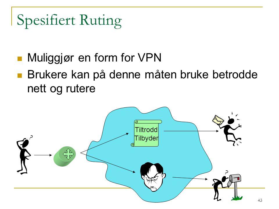 Spesifiert Ruting Muliggjør en form for VPN