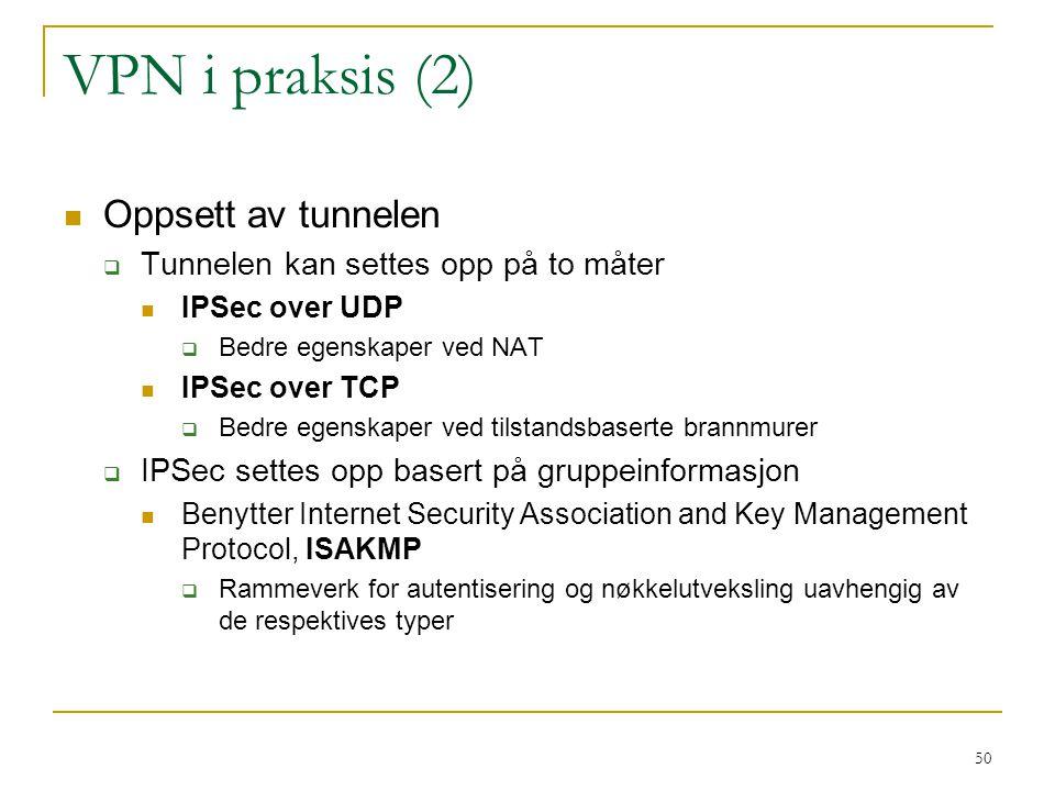 VPN i praksis (2) Oppsett av tunnelen