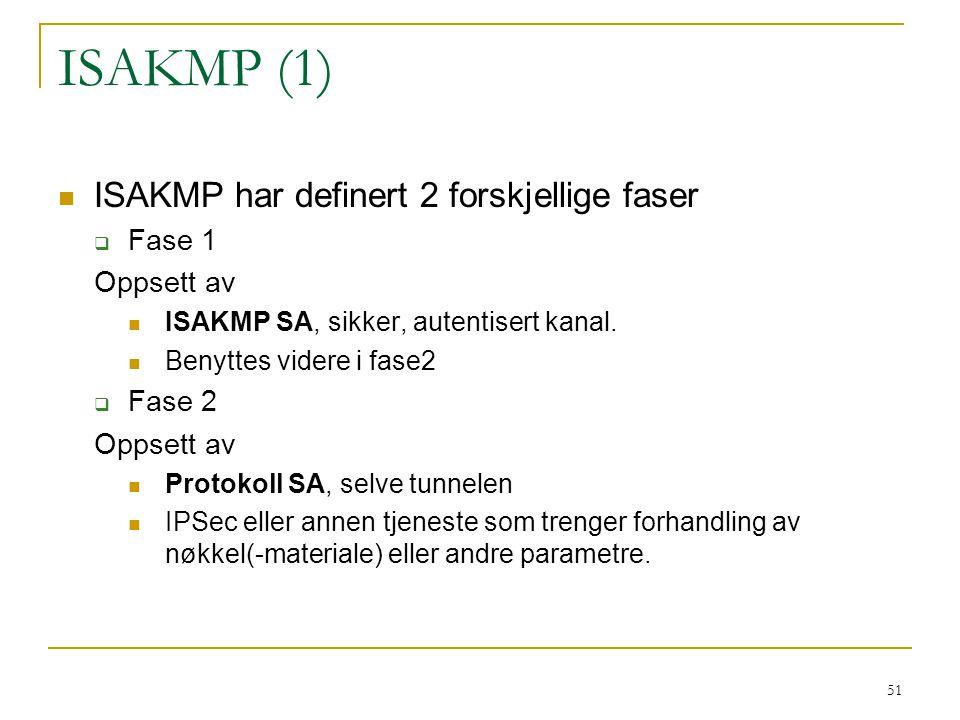 ISAKMP (1) ISAKMP har definert 2 forskjellige faser Fase 1 Oppsett av