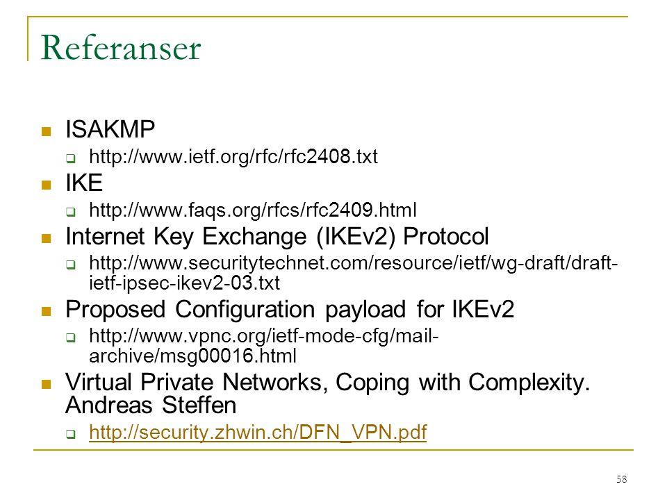Referanser ISAKMP IKE Internet Key Exchange (IKEv2) Protocol
