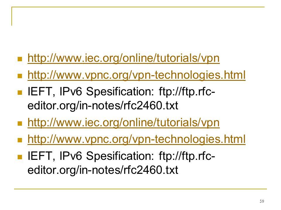 http://www.iec.org/online/tutorials/vpn http://www.vpnc.org/vpn-technologies.html.