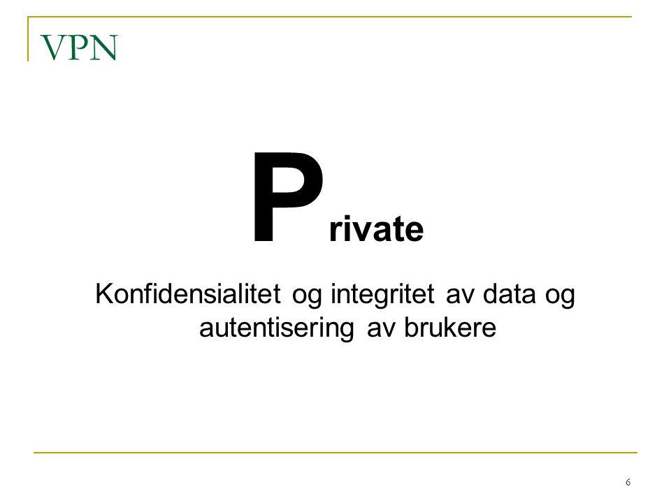 Konfidensialitet og integritet av data og autentisering av brukere