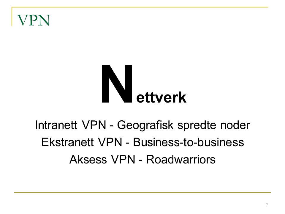 Nettverk VPN Intranett VPN - Geografisk spredte noder