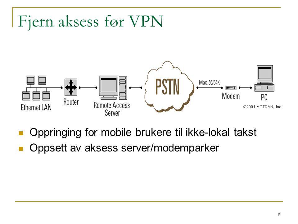 Fjern aksess før VPN ©2001 ADTRAN, Inc. Oppringing for mobile brukere til ikke-lokal takst.