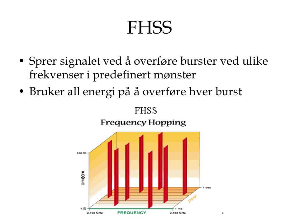 FHSS Sprer signalet ved å overføre burster ved ulike frekvenser i predefinert mønster.