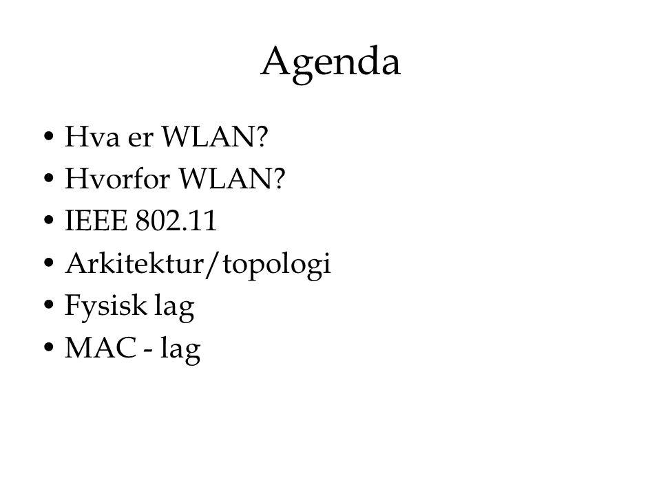 Agenda Hva er WLAN Hvorfor WLAN IEEE 802.11 Arkitektur/topologi