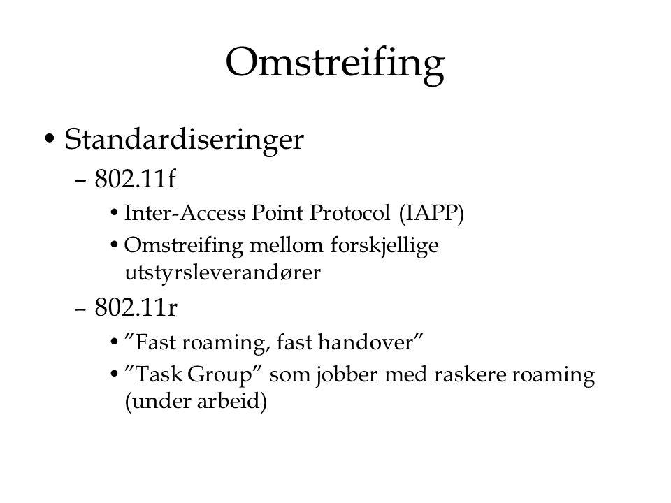 Omstreifing Standardiseringer 802.11f 802.11r