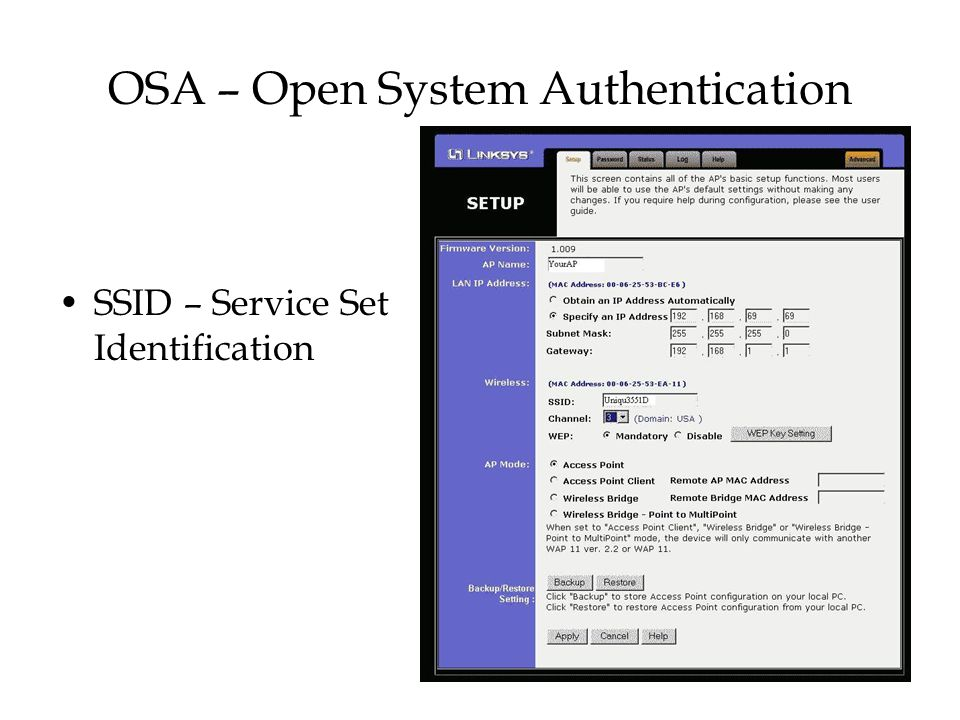 OSA – Open System Authentication
