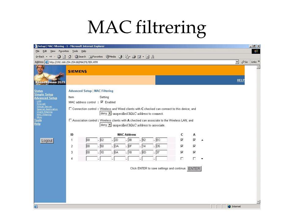 MAC filtrering