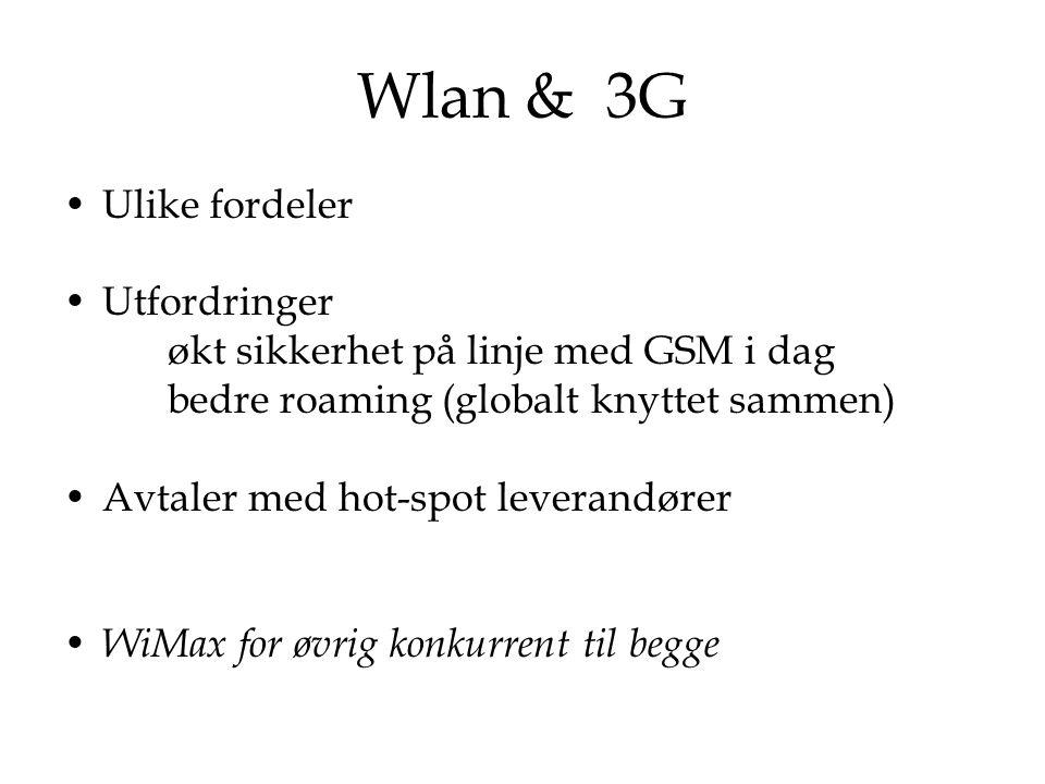 Wlan & 3G Ulike fordeler Utfordringer