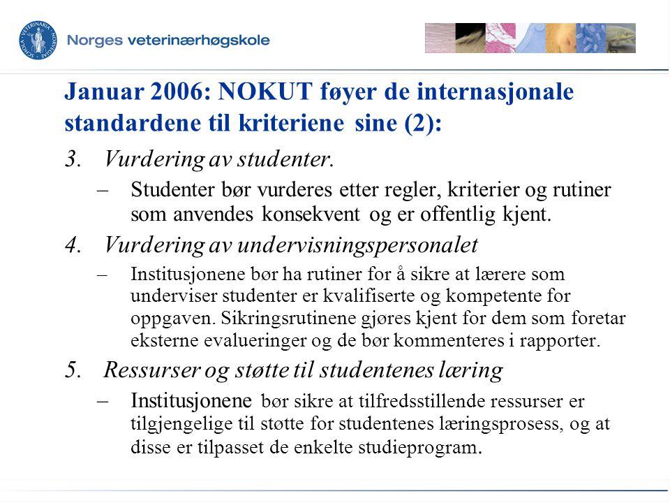 Januar 2006: NOKUT føyer de internasjonale standardene til kriteriene sine (2):