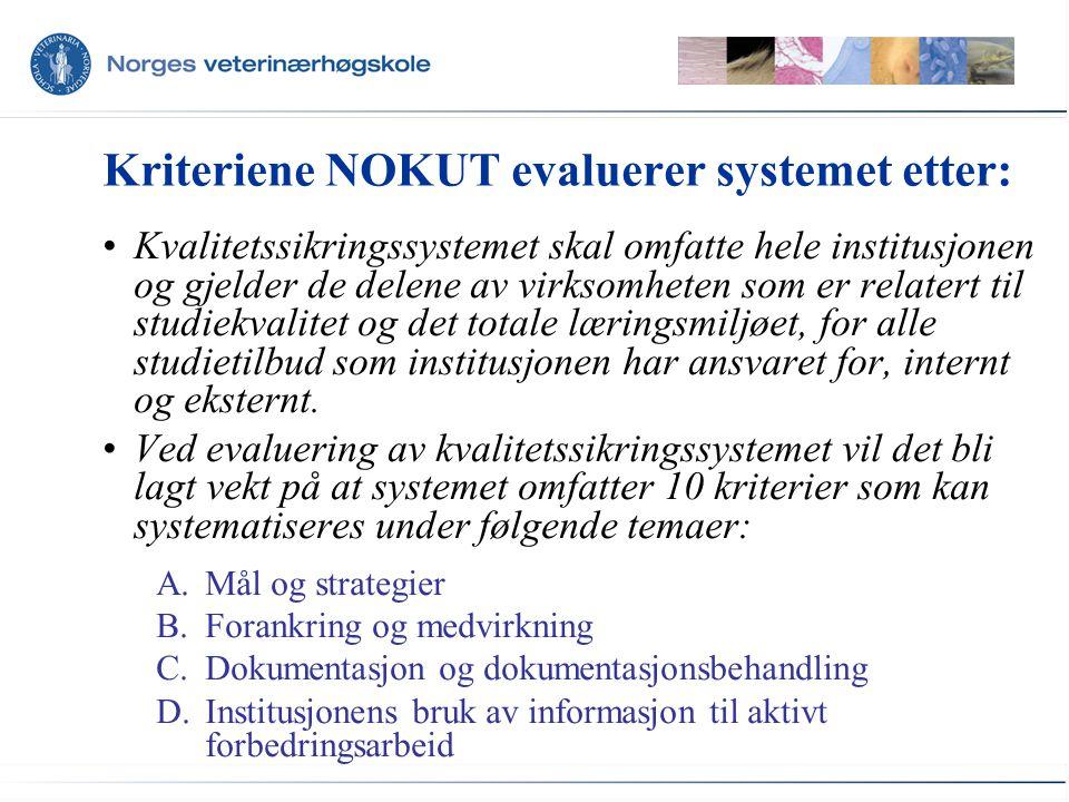 Kriteriene NOKUT evaluerer systemet etter: