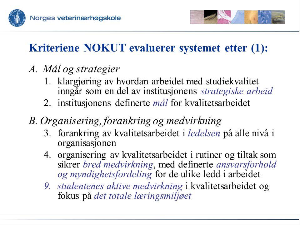 Kriteriene NOKUT evaluerer systemet etter (1):