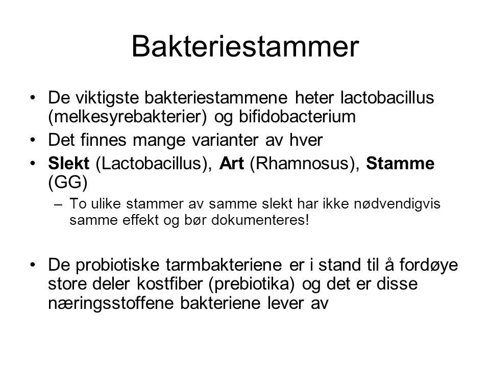 Bakteriestammer De viktigste bakteriestammene heter lactobacillus (melkesyrebakterier) og bifidobacterium.