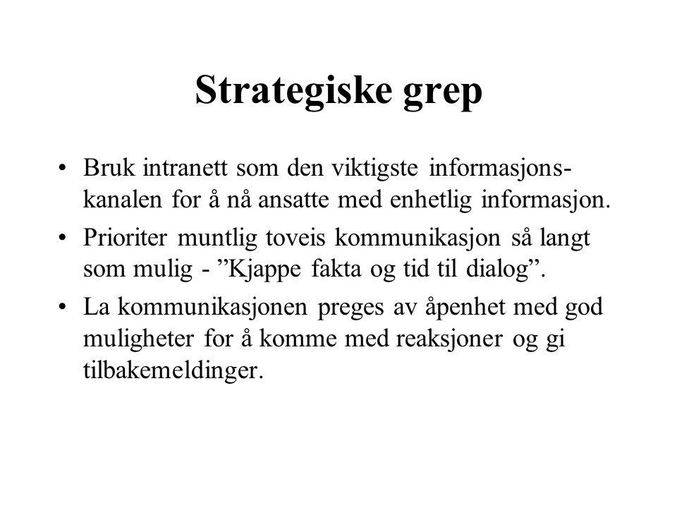 Strategiske grep Bruk intranett som den viktigste informasjons-kanalen for å nå ansatte med enhetlig informasjon.