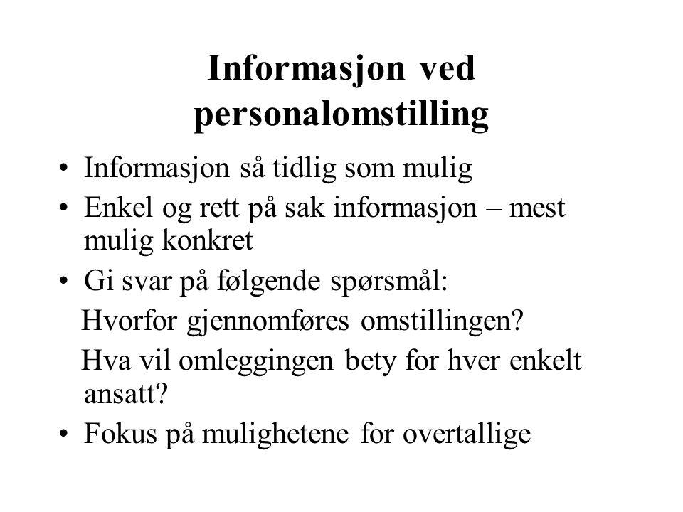 Informasjon ved personalomstilling