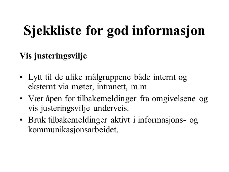 Sjekkliste for god informasjon