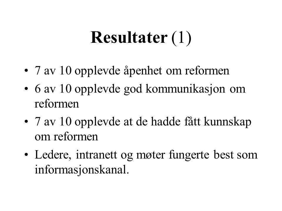 Resultater (1) 7 av 10 opplevde åpenhet om reformen
