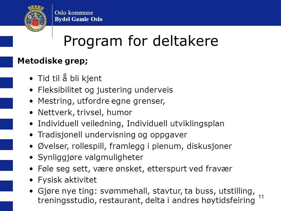 Program for deltakere Metodiske grep; Tid til å bli kjent