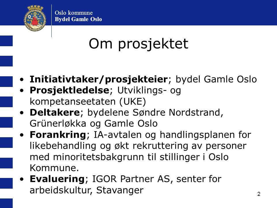 Om prosjektet Initiativtaker/prosjekteier; bydel Gamle Oslo