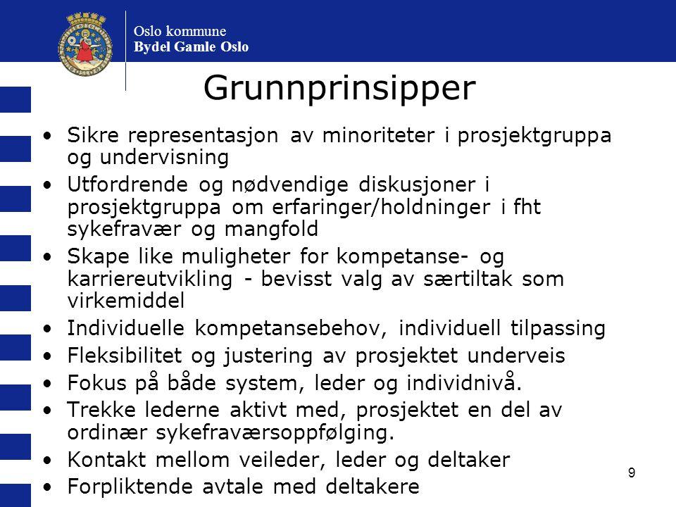 Oslo kommune Bydel Gamle Oslo. Grunnprinsipper. Sikre representasjon av minoriteter i prosjektgruppa og undervisning.