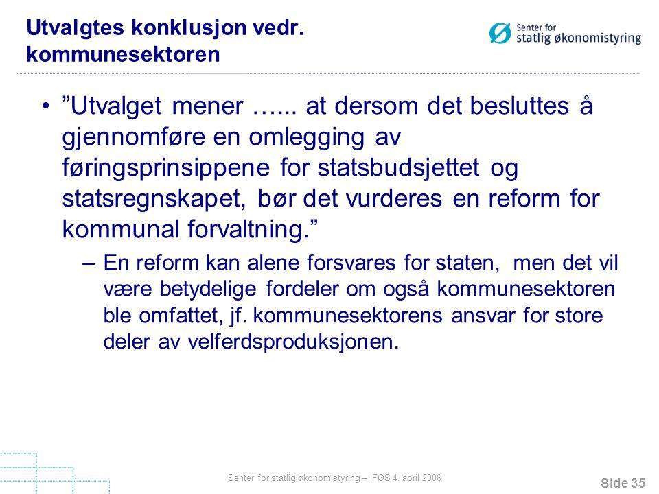Utvalgtes konklusjon vedr. kommunesektoren