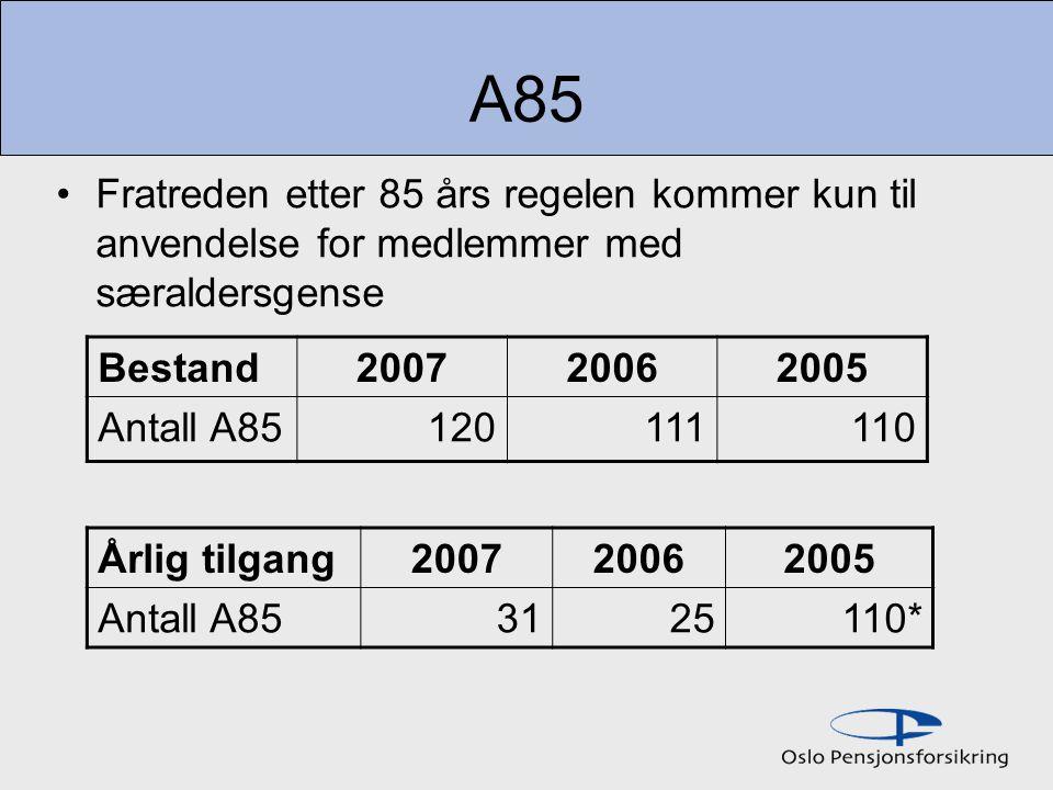 A85 Fratreden etter 85 års regelen kommer kun til anvendelse for medlemmer med særaldersgense. Bestand.