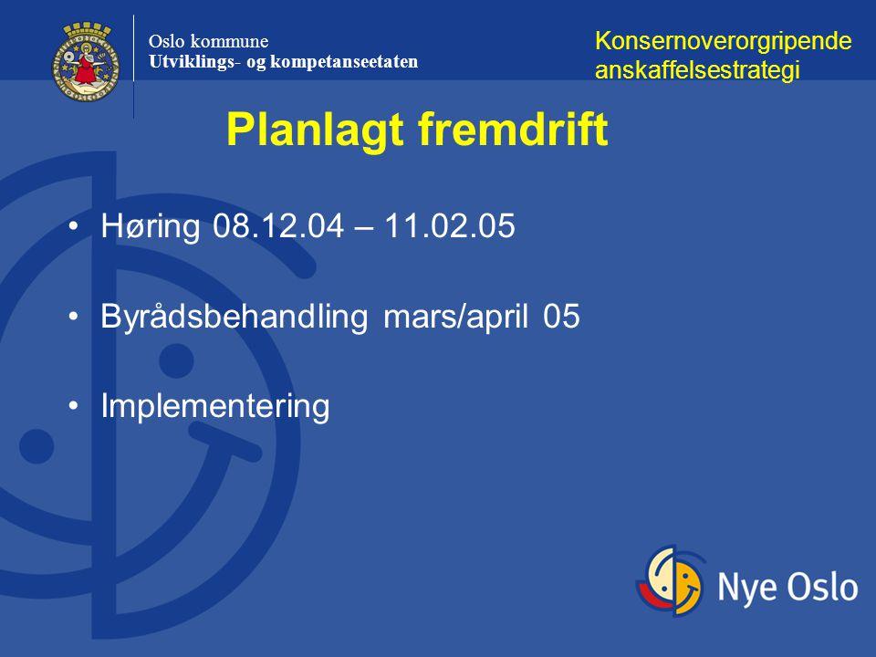 Planlagt fremdrift Høring 08.12.04 – 11.02.05