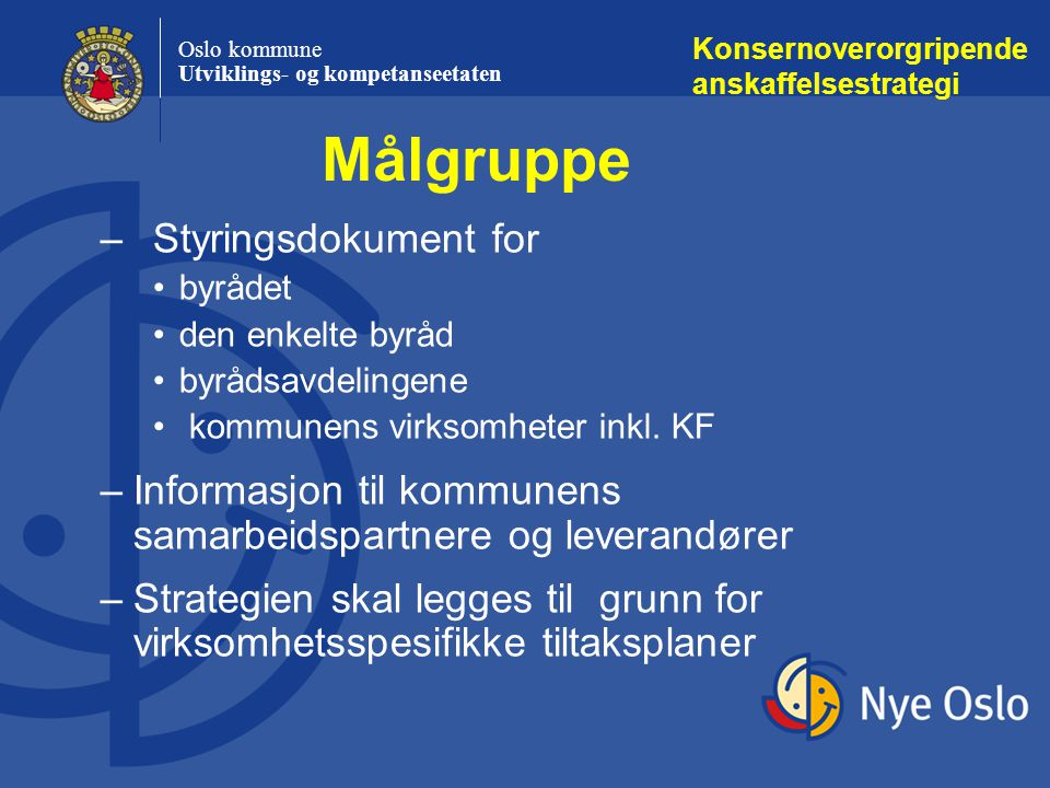 Målgruppe Styringsdokument for