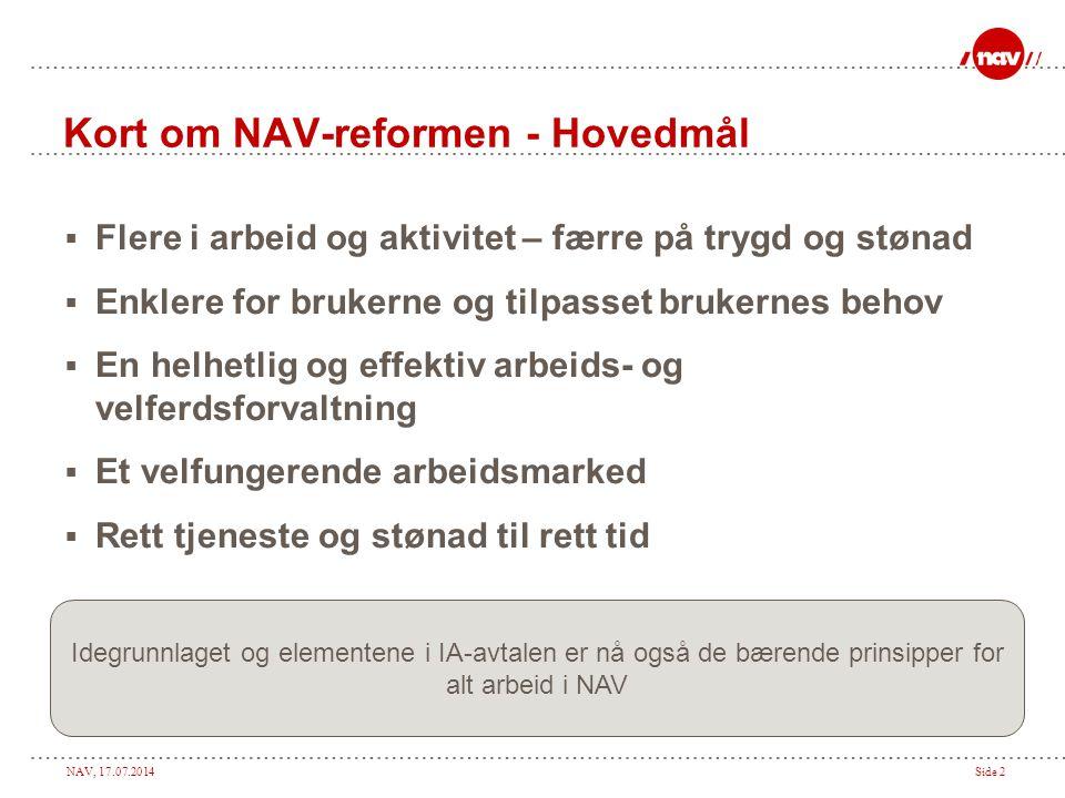 Kort om NAV-reformen - Hovedmål