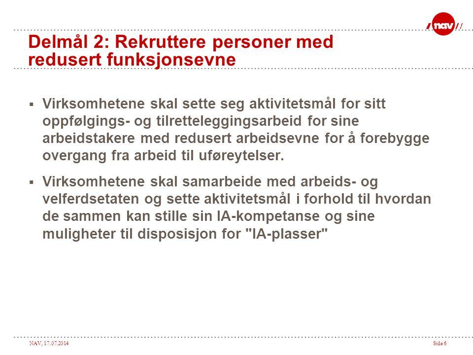 Delmål 2: Rekruttere personer med redusert funksjonsevne