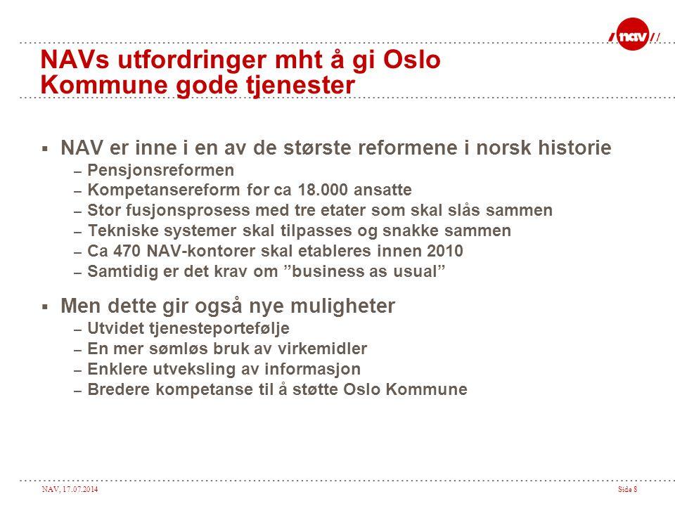 NAVs utfordringer mht å gi Oslo Kommune gode tjenester