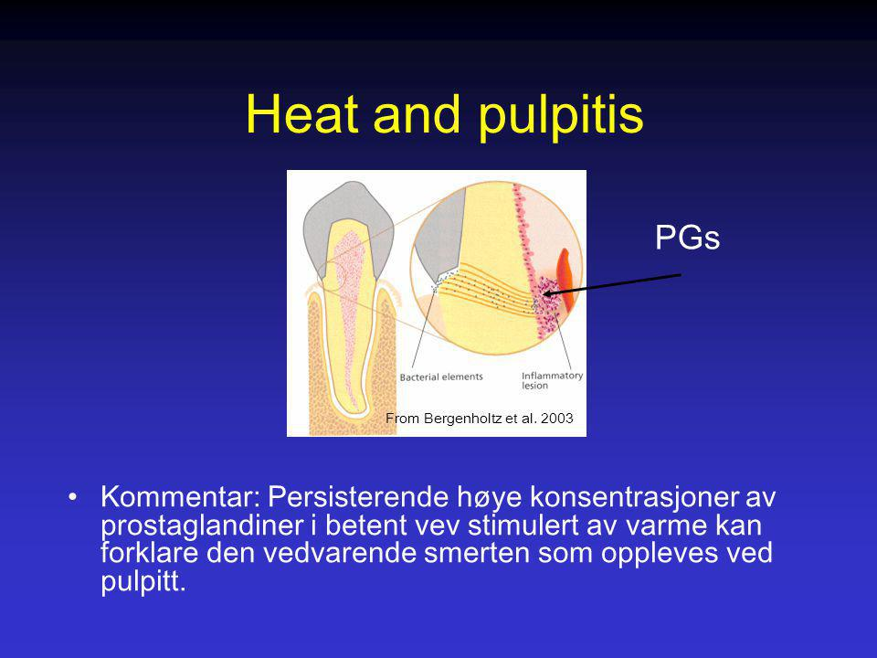Heat and pulpitis PGs. From Bergenholtz et al. 2003.