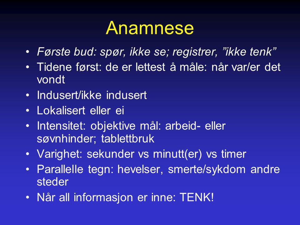 Anamnese Første bud: spør, ikke se; registrer, ikke tenk