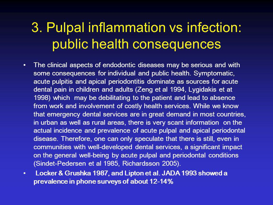 3. Pulpal inflammation vs infection: public health consequences