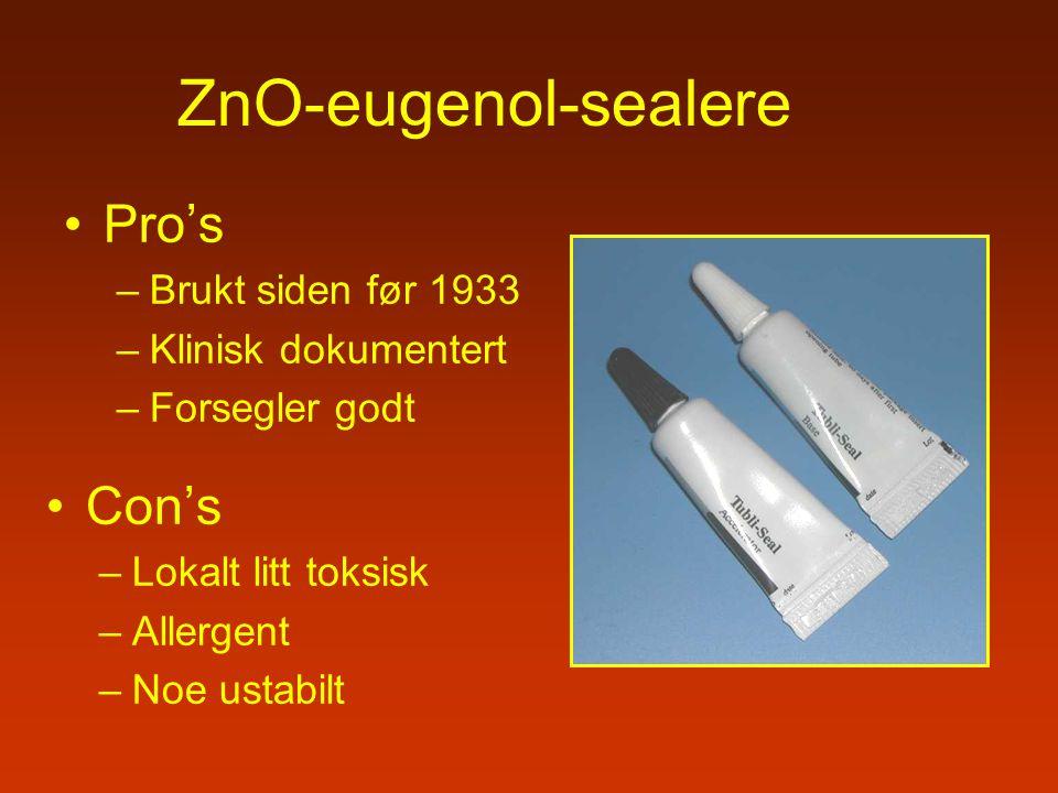 ZnO-eugenol-sealere Pro's Con's Brukt siden før 1933
