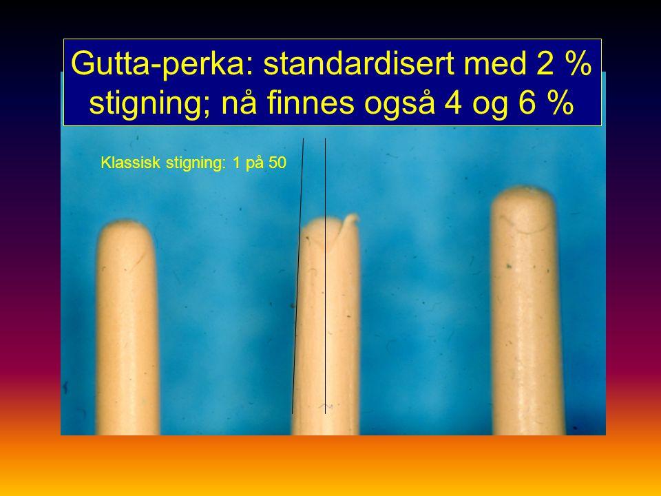 Gutta-perka: standardisert med 2 % stigning; nå finnes også 4 og 6 %