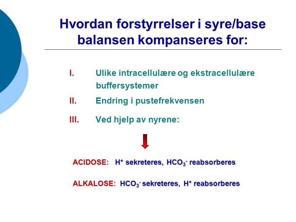 Hvordan forstyrrelser i syre/base balansen kompanseres for:
