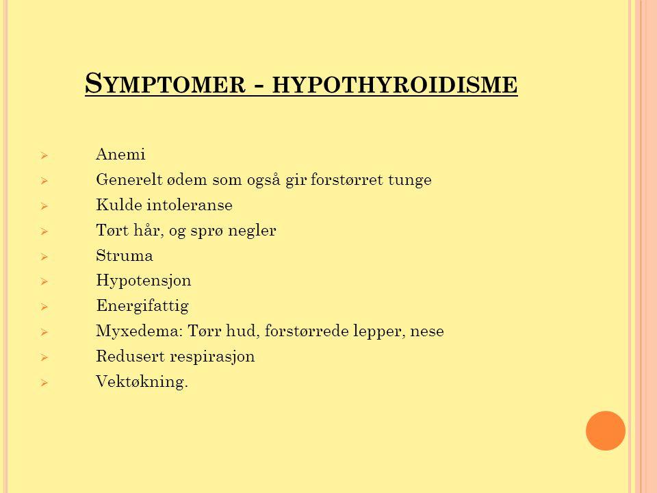 Symptomer - hypothyroidisme