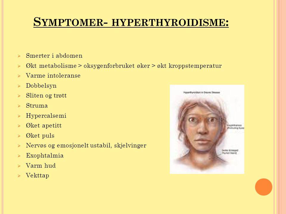 Symptomer- hyperthyroidisme:
