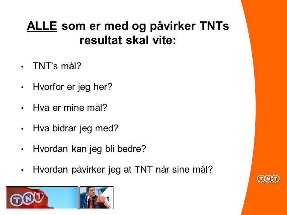 ALLE som er med og påvirker TNTs resultat skal vite: