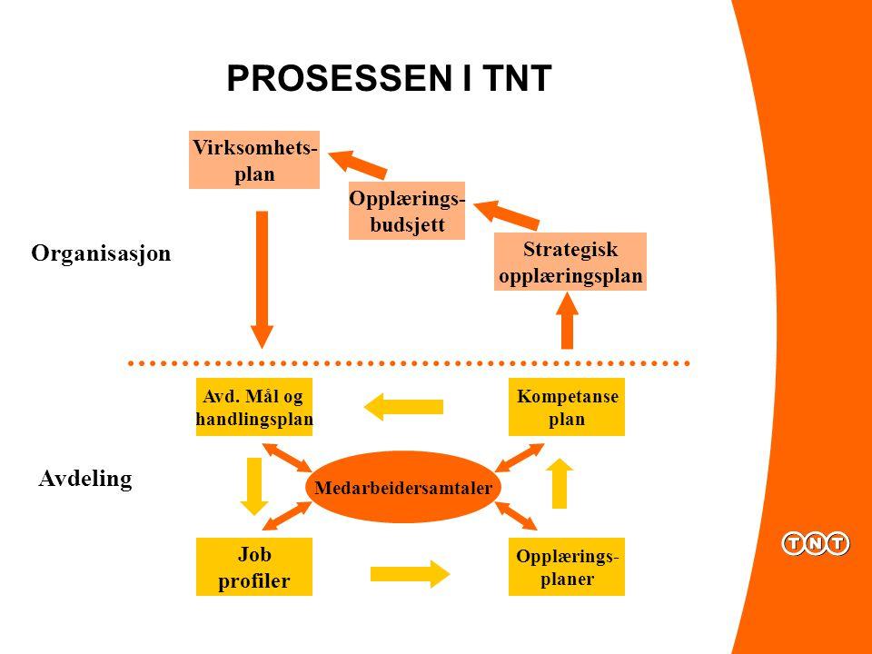 PROSESSEN I TNT Organisasjon Avdeling Virksomhets- plan Opplærings-
