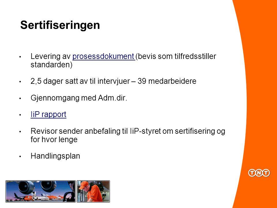 Sertifiseringen Levering av prosessdokument (bevis som tilfredsstiller standarden) 2,5 dager satt av til intervjuer – 39 medarbeidere.