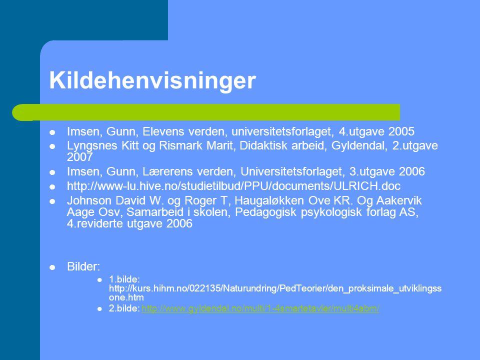 Kildehenvisninger Imsen, Gunn, Elevens verden, universitetsforlaget, 4.utgave 2005.