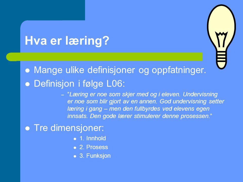 Hva er læring Mange ulike definisjoner og oppfatninger.