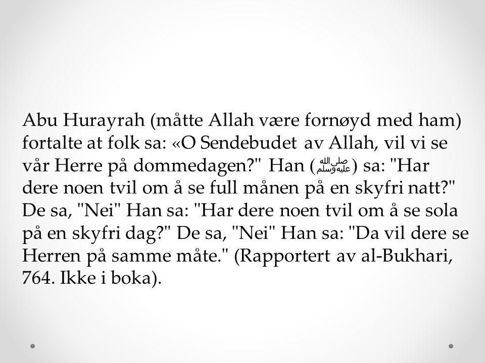 Abu Hurayrah (måtte Allah være fornøyd med ham) fortalte at folk sa: «O Sendebudet av Allah, vil vi se vår Herre på dommedagen Han (ﷺ) sa: Har dere noen tvil om å se full månen på en skyfri natt De sa, Nei Han sa: Har dere noen tvil om å se sola på en skyfri dag De sa, Nei Han sa: Da vil dere se Herren på samme måte. (Rapportert av al-Bukhari, 764.
